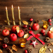 Red apples with Christmas ornaments — Stock Photo #31297701