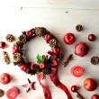 Christmas wreath with apples — Stock Photo #32060511