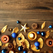 Blue Christmas ornaments with gold leaves — ストック写真 #32102269