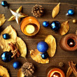 Blue Christmas ornaments with gold leaves — стоковое фото #32102291