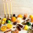 Citrus fruits with aromatherapy supplies — Stock Photo