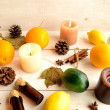 Citrus fruits with aromatherapy supplies — Stock Photo #32379417