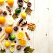 Foto Stock: Citrus fruits with aromatherapy supplies