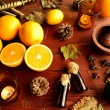 Citrus fruits with aromatherapy supplies — Stock Photo #32383067