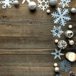 Snow flakes,candles and Christmas ornaments — Stock Photo