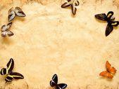 Motýli na starý papír. — Stock fotografie