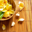 Stock Photo: Yellow plumeriflowers on bamboo blind