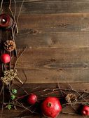 Winter fruits,candles and twigs — Stockfoto