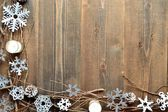 Snow flakes,candles and twigs — Stock Photo