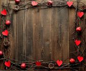 Red heart,apple and twigs.image of Valentines day — Stock fotografie