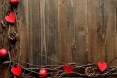 Red heart,apple and twigs.image of Valentines day — Stok fotoğraf