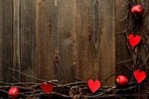Red heart,apple and twigs.image of Valentines day — Стоковое фото