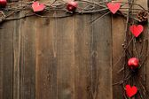 Red heart,apple and twigs.image of Valentines day — Foto Stock
