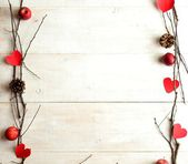 Red heart,candles and twigs,image of Valentines day — 图库照片