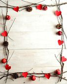 Red heart,candles and twigs,image of Valentines day — Foto Stock