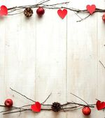 Red heart,candles and twigs,image of Valentines day — Stok fotoğraf