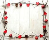 Red heart,candles and twigs,image of Valentines day — Photo