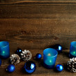 Blue candles and ornaments — Stock Photo