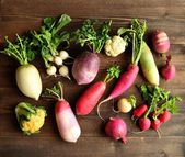Colorful spring vegetables with vegetables — Stock Photo