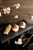 Japanese cake with cherry blossoms — Stock Photo