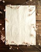 Cherry blossoms on beautiful paper.frame — Stock Photo