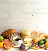 Breads,coffee and vegetables — Stock Photo