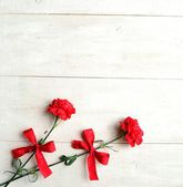 Red carnations with ribbon — Stock Photo