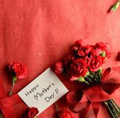 """Red carnations bouquet with """"Mothers day"""" message card — Stock Photo"""