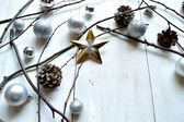 Silver Christmas ornament balls with star — Stock Photo