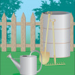 Royalty-Free Stock 矢量图片: Garden tool and wooden fence