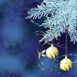 Royalty-Free Stock ベクターイメージ: Blue spruce branch with golden christmas balls