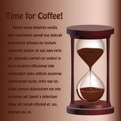 Hintergrund mit sanduhr mit kaffee — Stockvektor