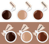 Set of cups of coffee with labels — Stock Vector