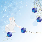 White kitten playing with blue christmas ball — Vector de stock