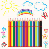 Set of multicolored pencils — Stock Vector