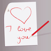 "Heart and ""I love you"" drawn by red pencil on a white sheet — Stock Vector"