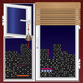 Window with jalousie and china bell and night city — Vecteur