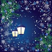 Новый год фонарь и еловых ветвей на синем фоне — Cтоковый вектор