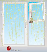 Winter window with frosty patterns decorated by garland with golden stars — Stockvektor