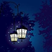 Deux lanternes et vol de papillon de nuit — Vecteur