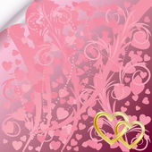 Pink background with transparent hearts — Cтоковый вектор