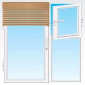 Window and wooden jalousie — Stock Vector