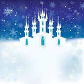Winter scene with the ice castle — Stock Vector