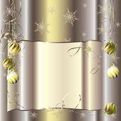 Achtergrond voor uw tekst met kerstballen en decoratieve wervelingen — Stockvector