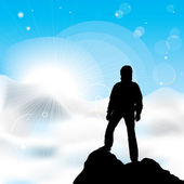 Man staying on a top of a mountain — Stock Vector