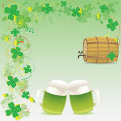 Two mugs of green beer and wooden keg on a green floral background with four-leaves clovers — Stock Vector