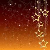 """""""goldene sterne"""" auf einem glänzenden braunen hintergrund — Stockvektor"""
