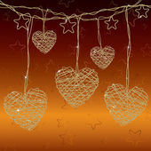 Romantic background with bright wire hearts — Stock Vector