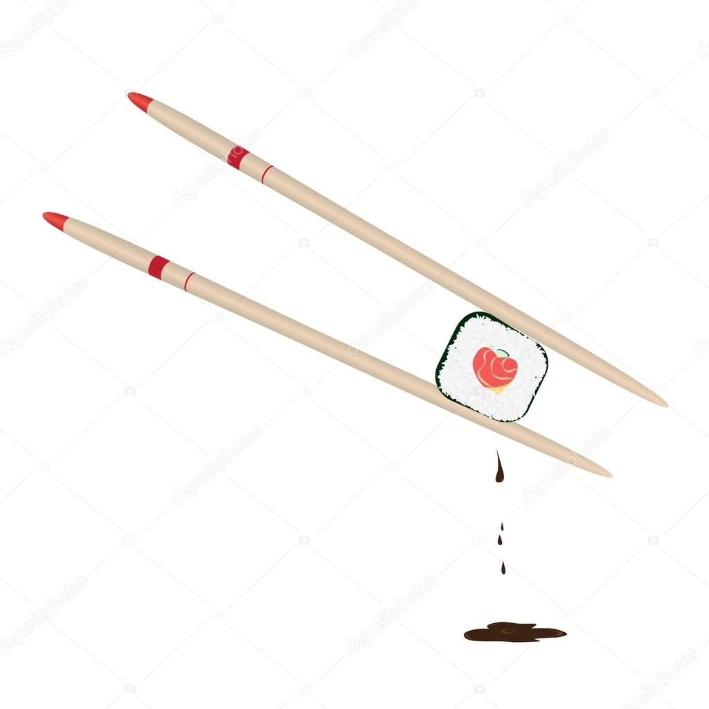 Two chopsticks holding roll with stuffing in form of heart  Stock Vector #12030938