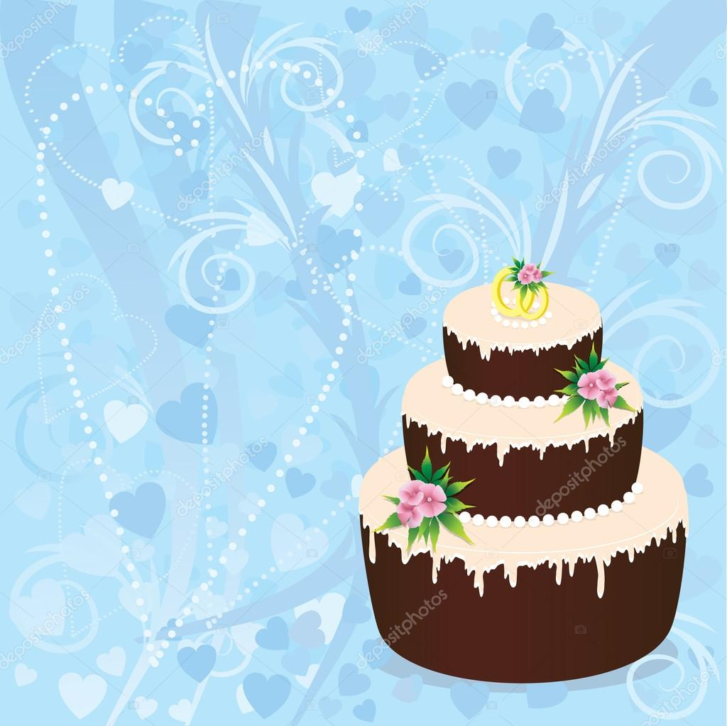 Wedding cake with two rings on a blue background — Stock Vector #12030952